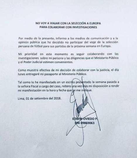 Documento de Oviedo donde menciona que no irá a Europa.