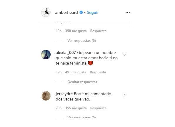 Amber Heard recibe comentarios en Instagram